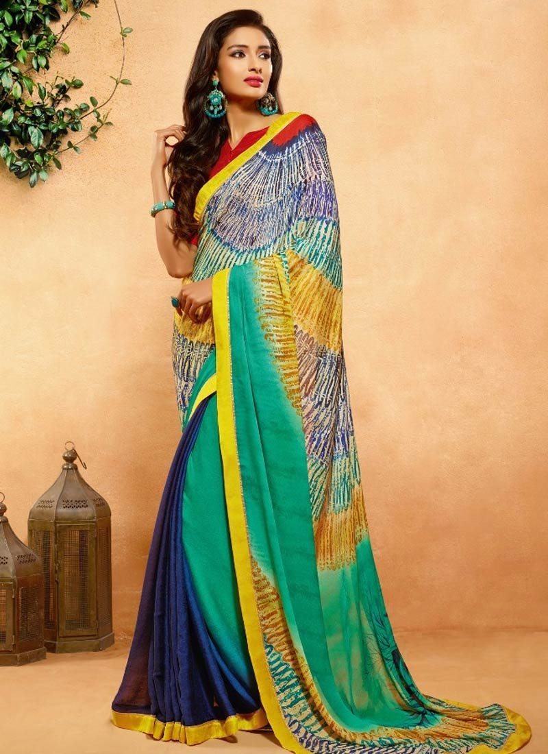 Catchy Crepe Jacquard Navy Blue Color Casual Saree