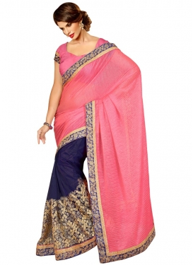 Catchy Crush And Net Half N Half Designer Saree