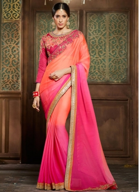 Catchy Embroidered Work Chiffon Satin Orange and Rose Pink Classic Saree