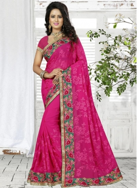 Catchy Embroidered Work  Faux Georgette Trendy Classic Saree