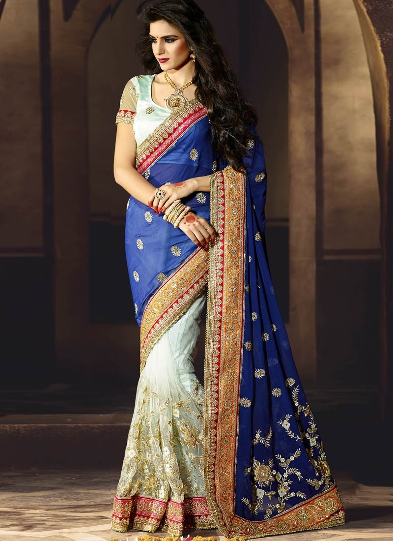 Catchy Embroidery And Stone Work Half N Half Bridal Saree
