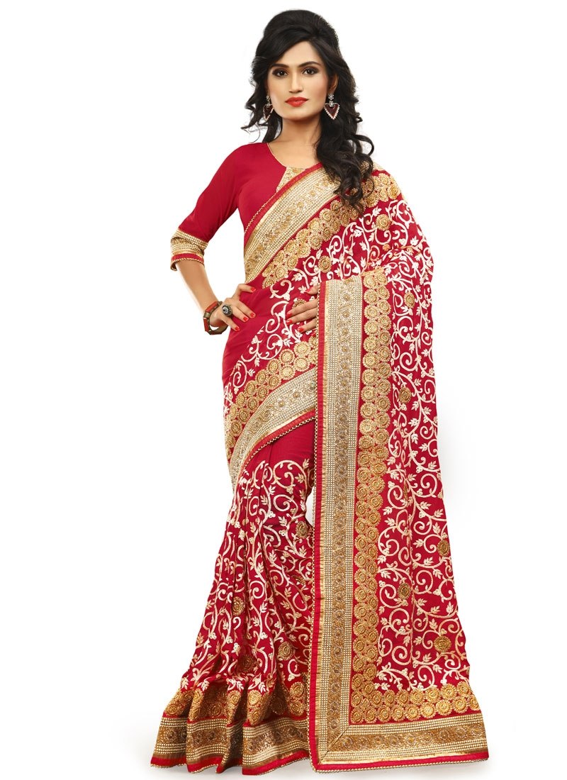 Catchy Embroidery Work Red Color Wedding Saree