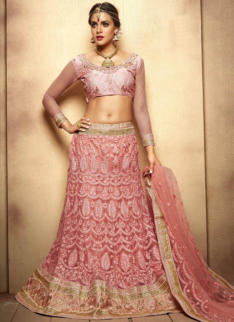 Catchy Embroidery Work Salmon Color Wedding Lehenga Choli