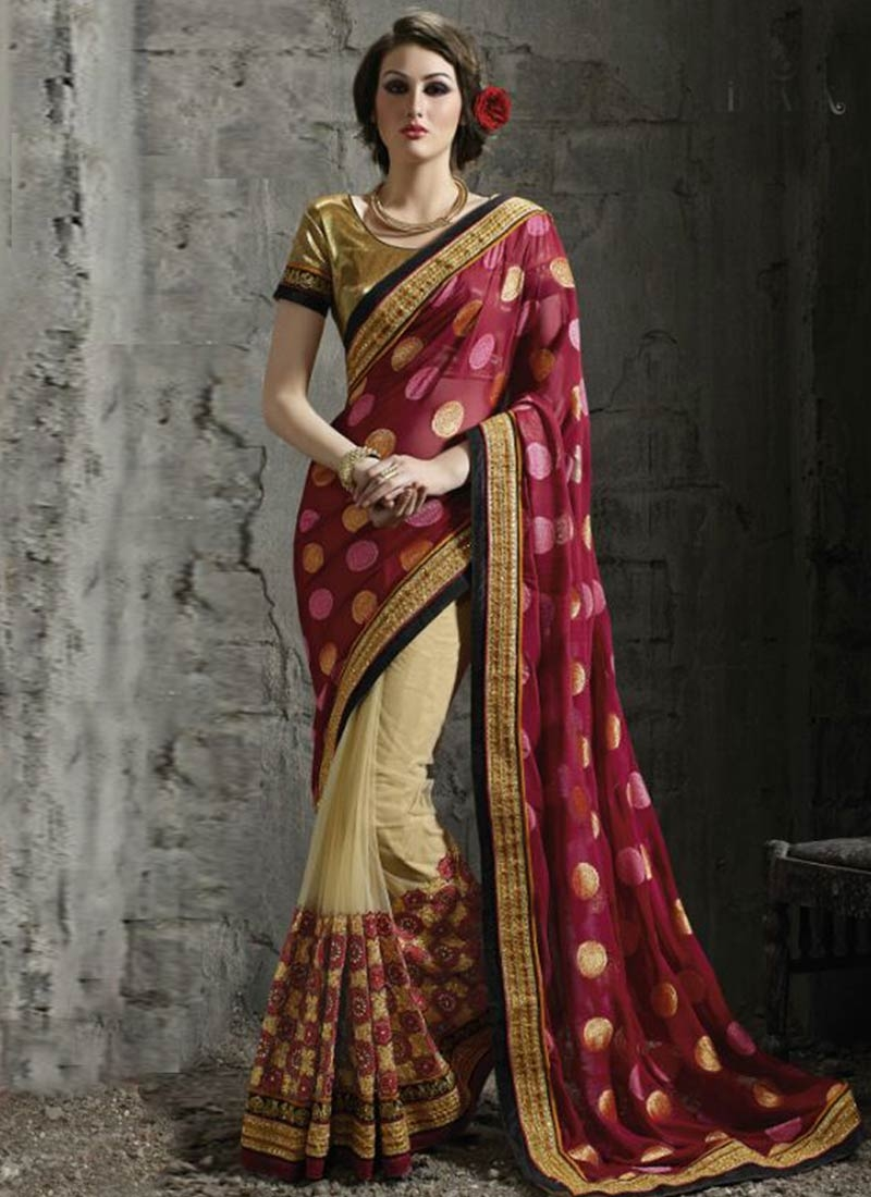 Catchy Embroidery Work Viscose Half N Half Wedding Saree