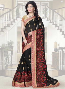 Catchy Faux Georgette Embroidered Work Classic Saree For Festival