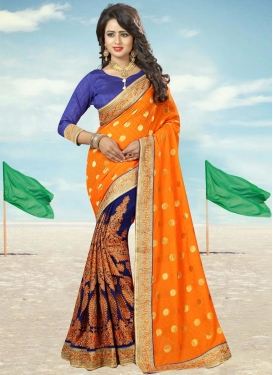 Catchy Faux Georgette Navy Blue and Orange Booti Work Half N Half Saree