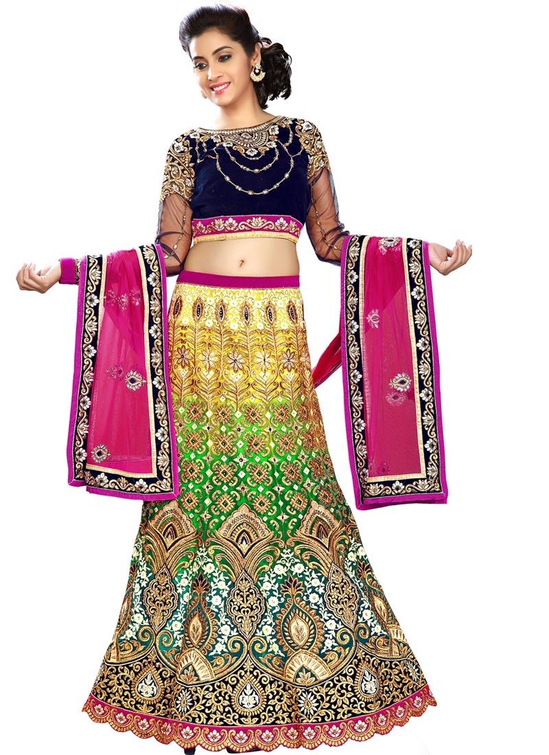 Catchy Green And Yellow Color Bridal Lehenga Choli