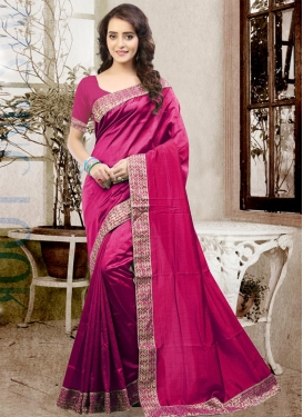 Catchy  Lace Work Art Silk Contemporary Saree
