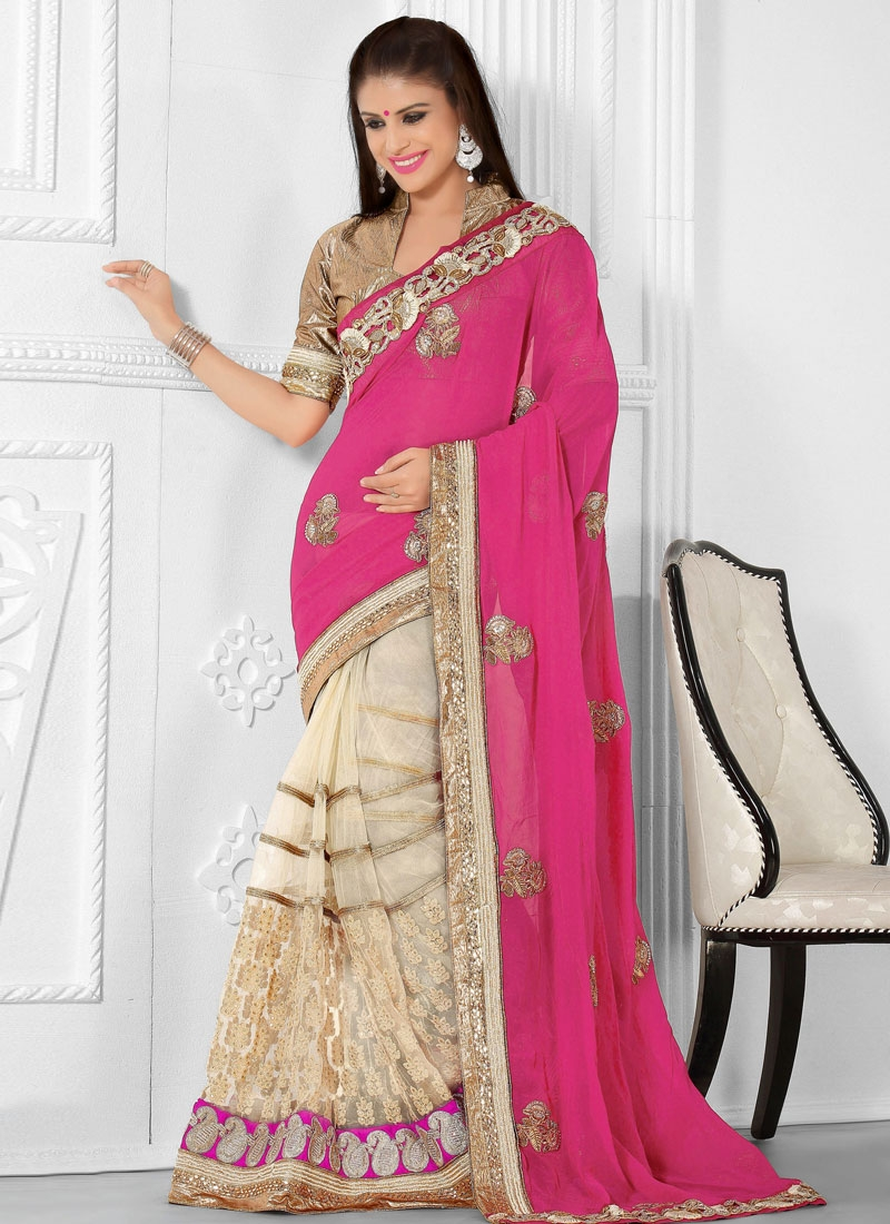 Catchy Lace Work Half N Half Bridal Saree