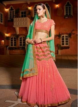 Catchy Lace Work Salmon and Turquoise Lehenga Choli