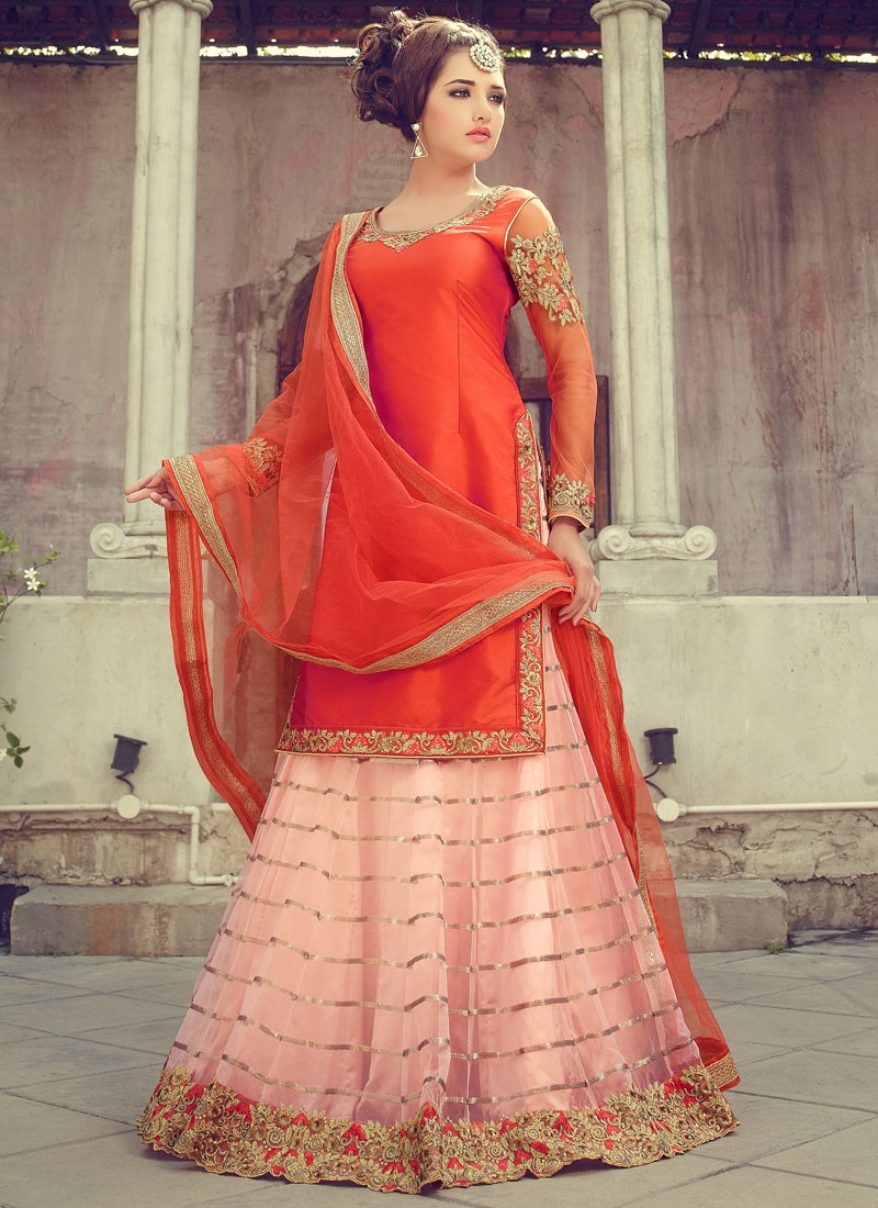 Catchy Orange Color Kameez Style Designer Lehenga Choli