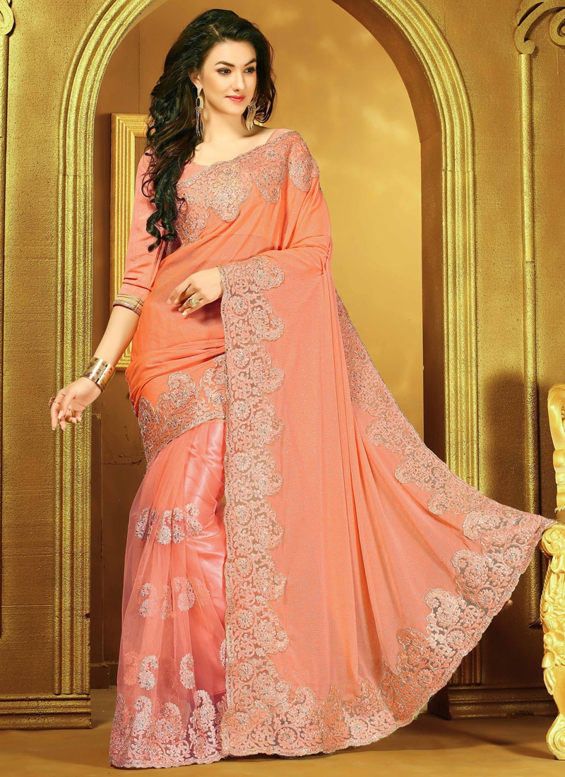 Catchy Peach Color Net Stone Work Designer Saree