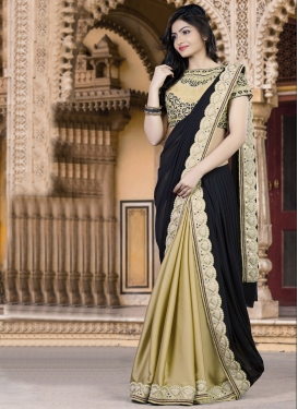 Celestial Beads Work Beige and Black Lehenga Style Saree