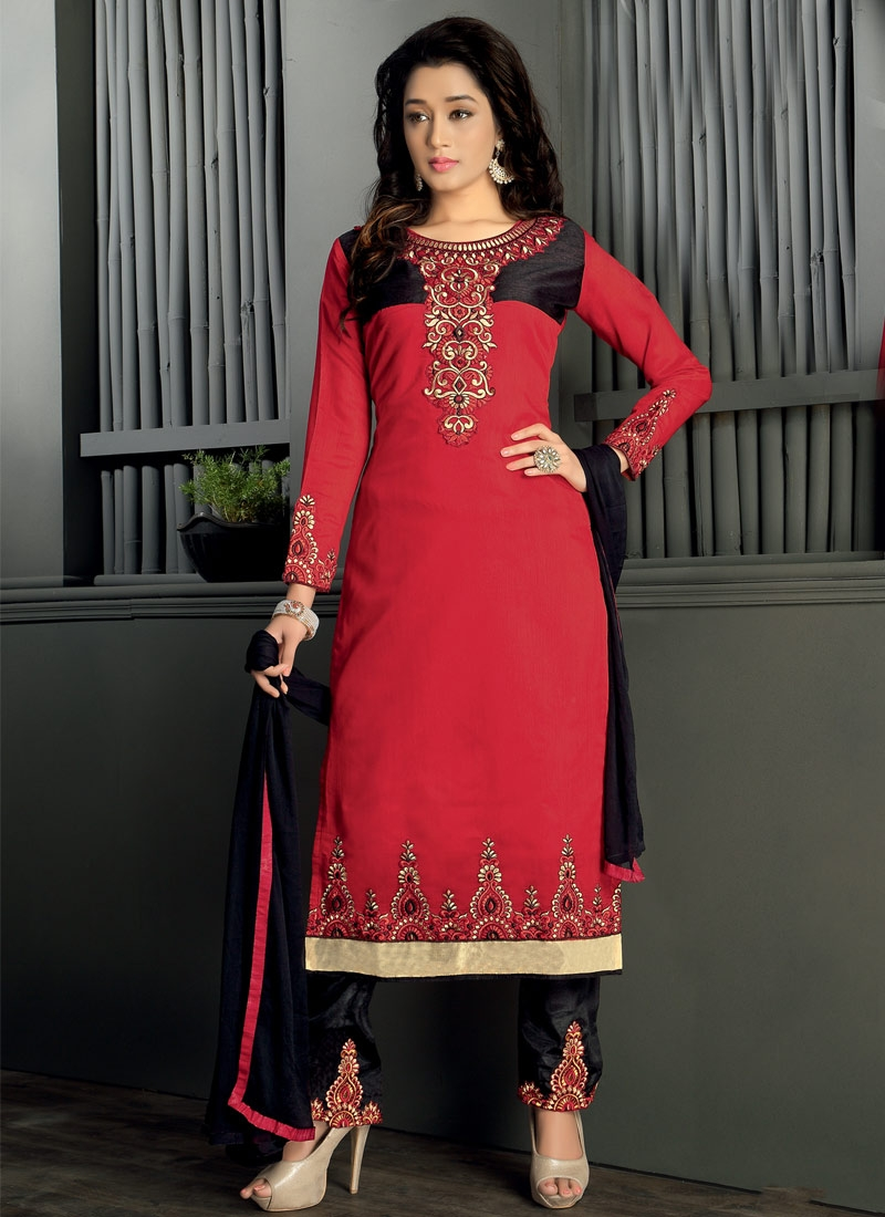 Celestial Black And Red Color Chanderi Cotton Pant Style Party Wear Suit