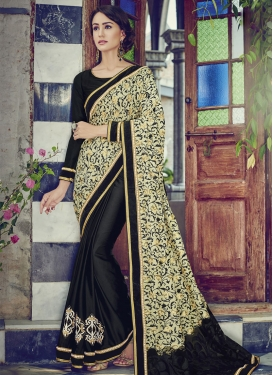 Celestial Black Color Printed Half N Half Designer Saree