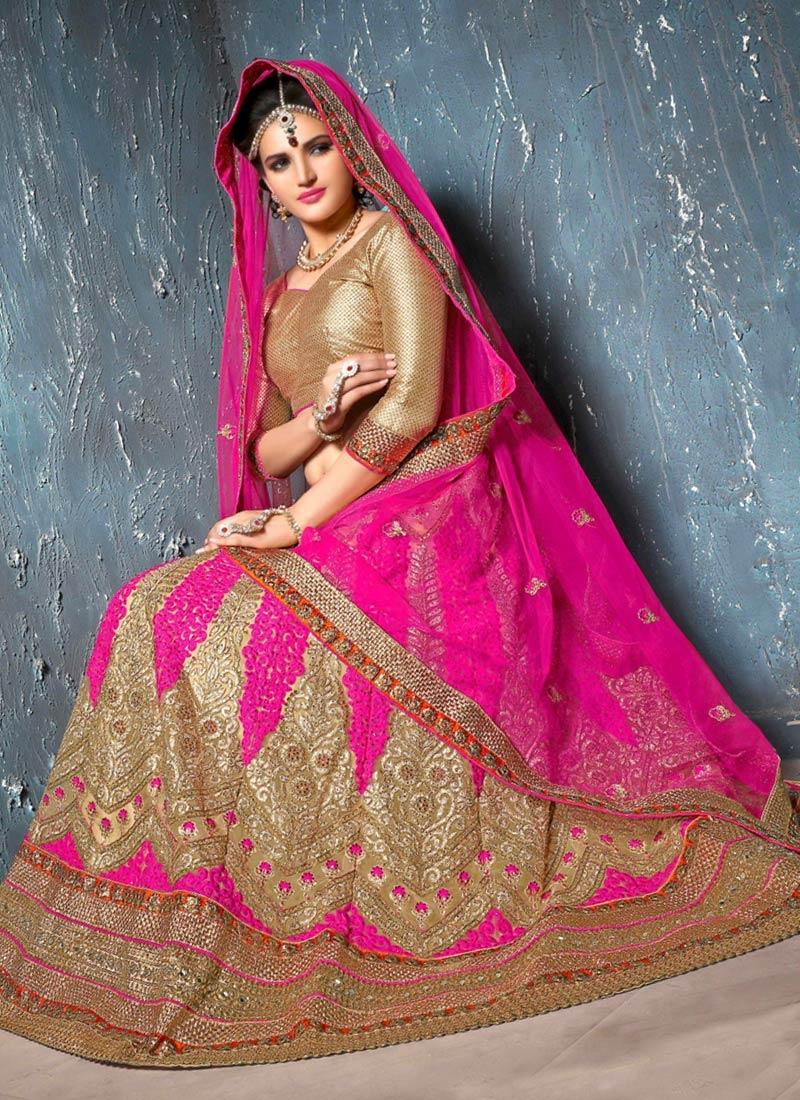 Celestial Booti And Resham Work Net Bridal Lehenga Choli