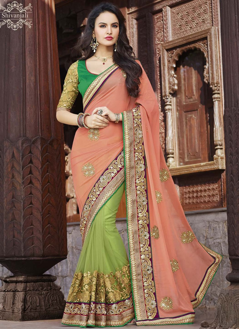 Celestial Booti And Resham Work Net Wedding Saree