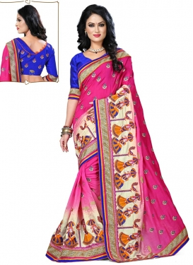 Celestial Cream And Rose Pink Color Designer Saree