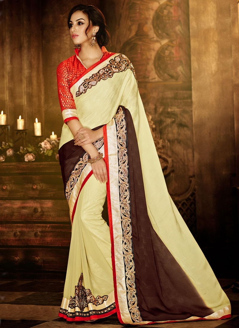 Celestial Cream Color Jacquard Party Wear Saree