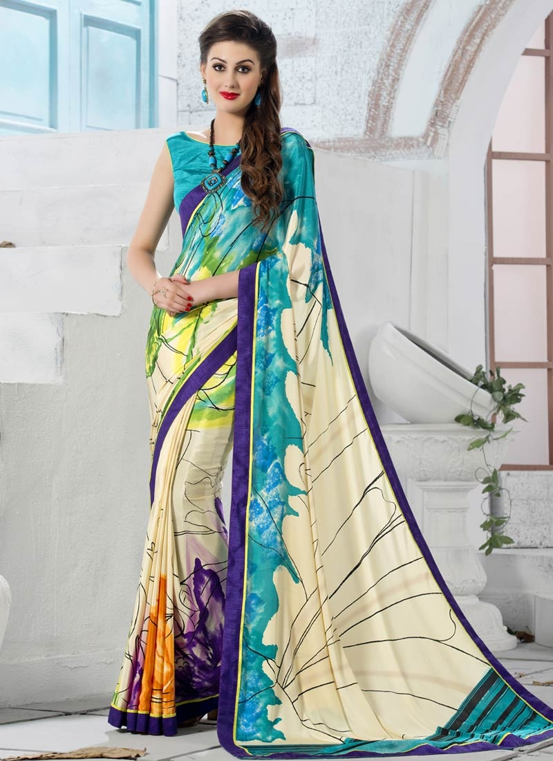 Celestial Crepe Silk Cream Color Casual Saree