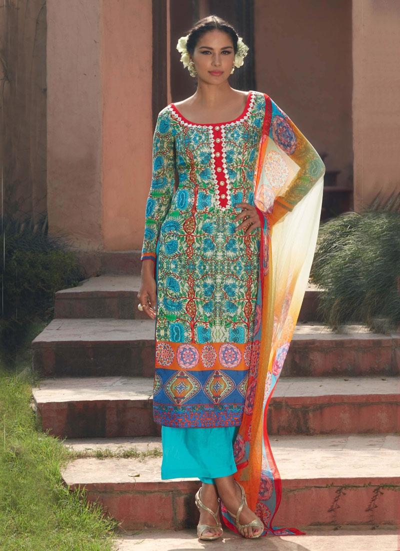 Celestial Digital Print Work Palazzo Style Pakistani Suit