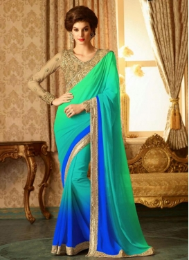 Celestial  Embroidered Work Contemporary Style Saree For Ceremonial