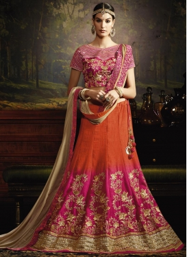 Celestial Embroidered Work Fuchsia and Orange Trendy A Line Lehenga Choli