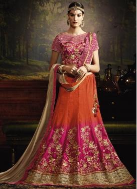 Celestial Embroidered Work Fuchsia and Orange Trendy A Line Lehenga Choli