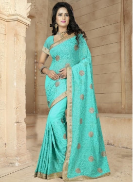 Celestial Faux Georgette Beads Work Contemporary Style Saree