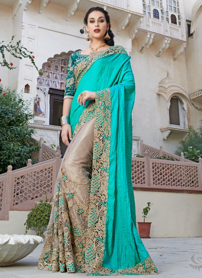 Celestial Floral And Cut Work Half N Half Bridal Saree