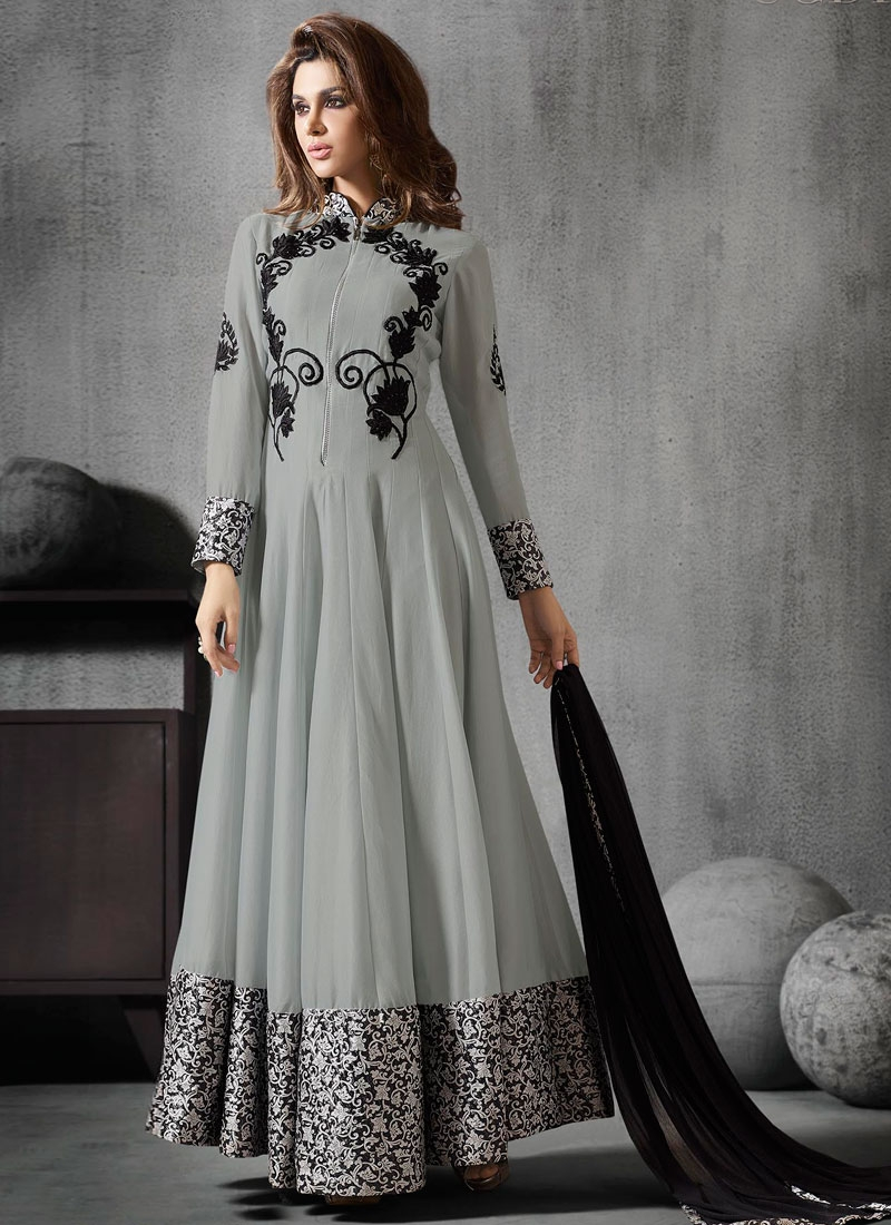 Celestial Grey Color Ankle Length Anarkali Suit