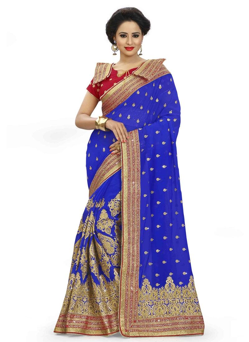 Celestial Lace Work Blue Color Wedding Saree