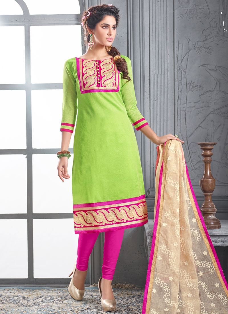 Celestial Mint Green Color Resham Work Casual Suit
