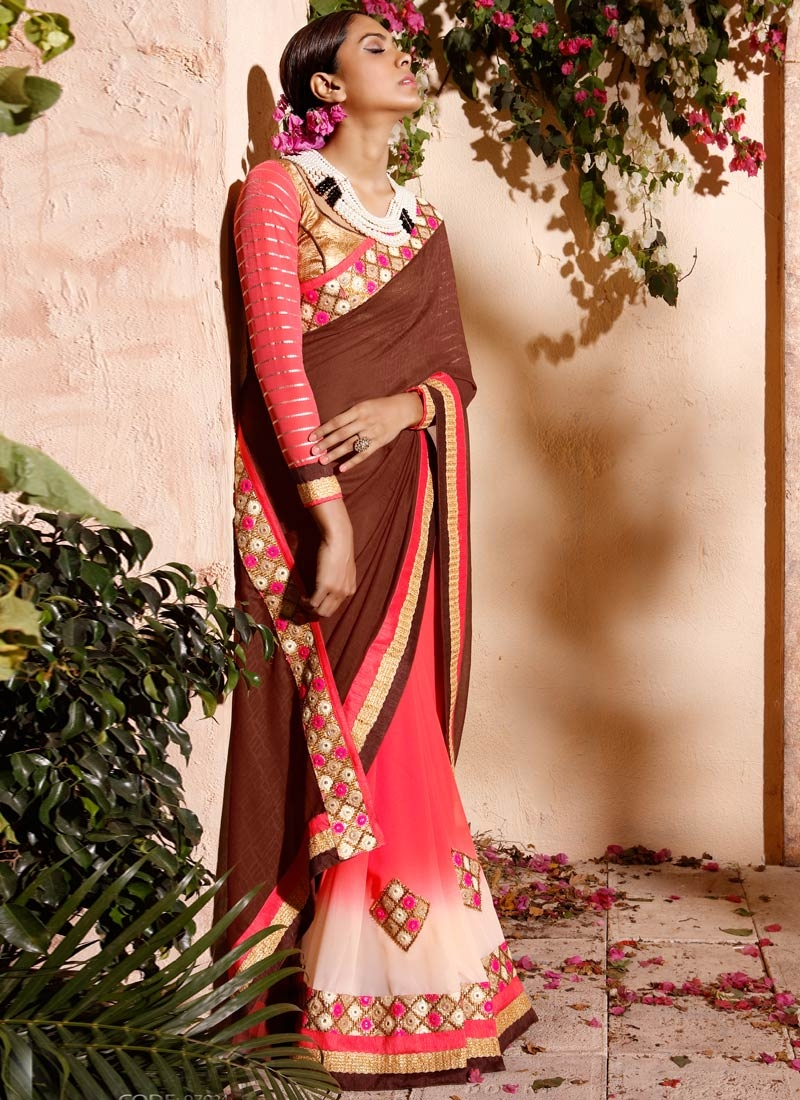 Celestial Mirror Work Jacquard Half N Half Party Wear Saree