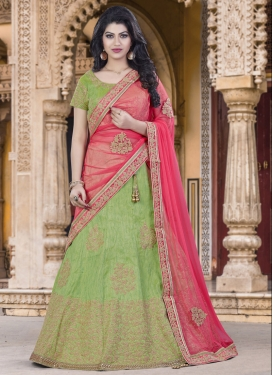 Celestial Raw Silk A Line Lehenga Choli For Festival