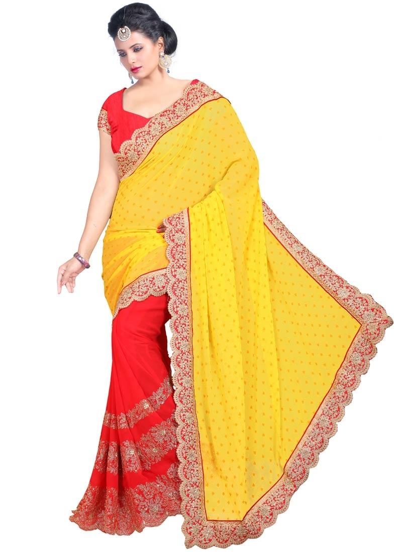 Celestial Red Color Half N Half Party Wear Saree