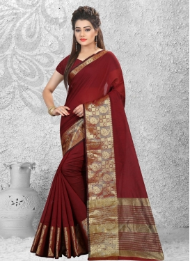 Celestial Resham Work Cotton Silk Trendy Classic Saree