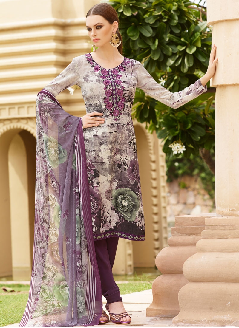 Celestial Resham Work Crepe Silk Churidar Salwar Suit