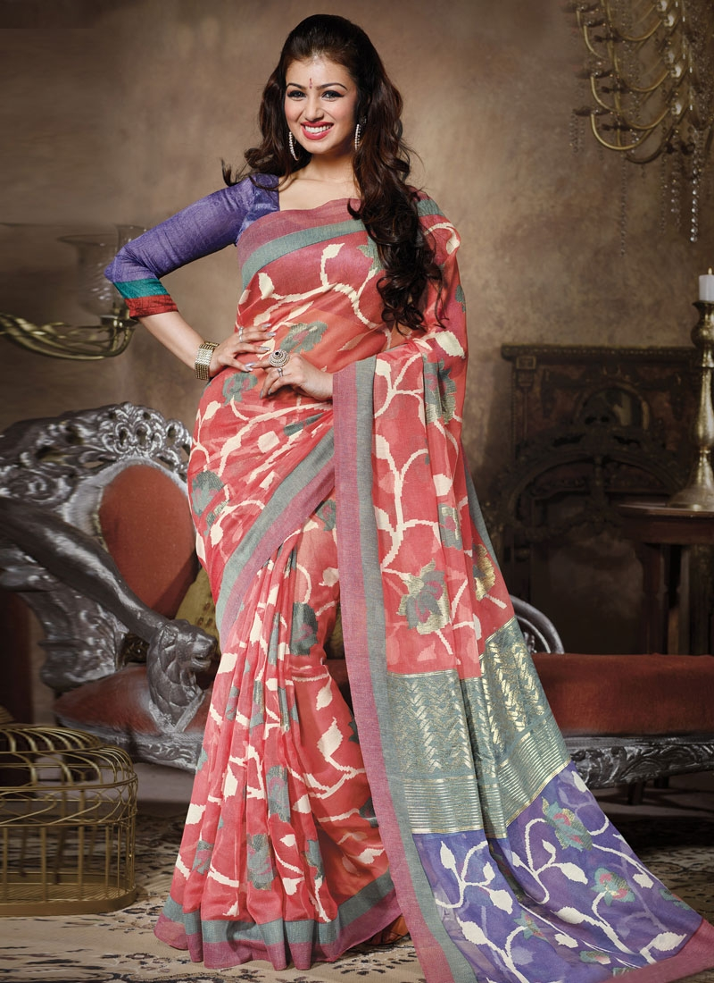 Celestial Salmon Color Ayesha Takia Casual Saree