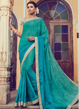 Celestial Sea Green and Teal Faux Chiffon Contemporary Style Saree
