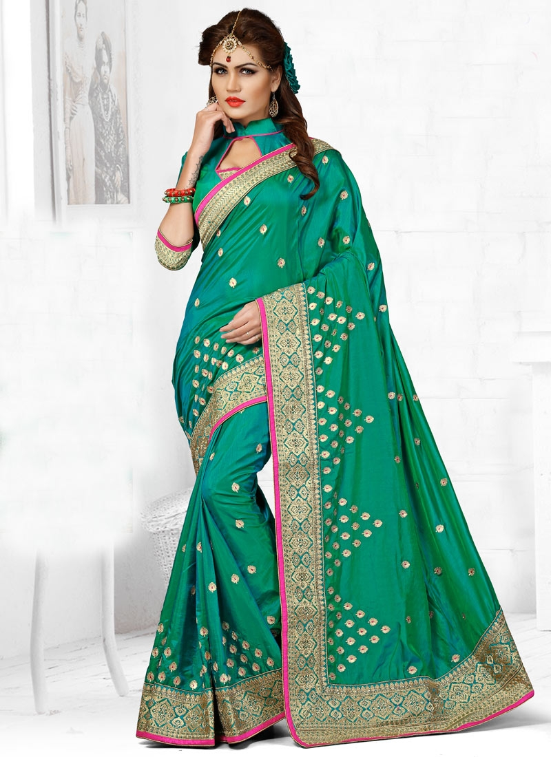 Celestial Sea Green Color Designer Saree