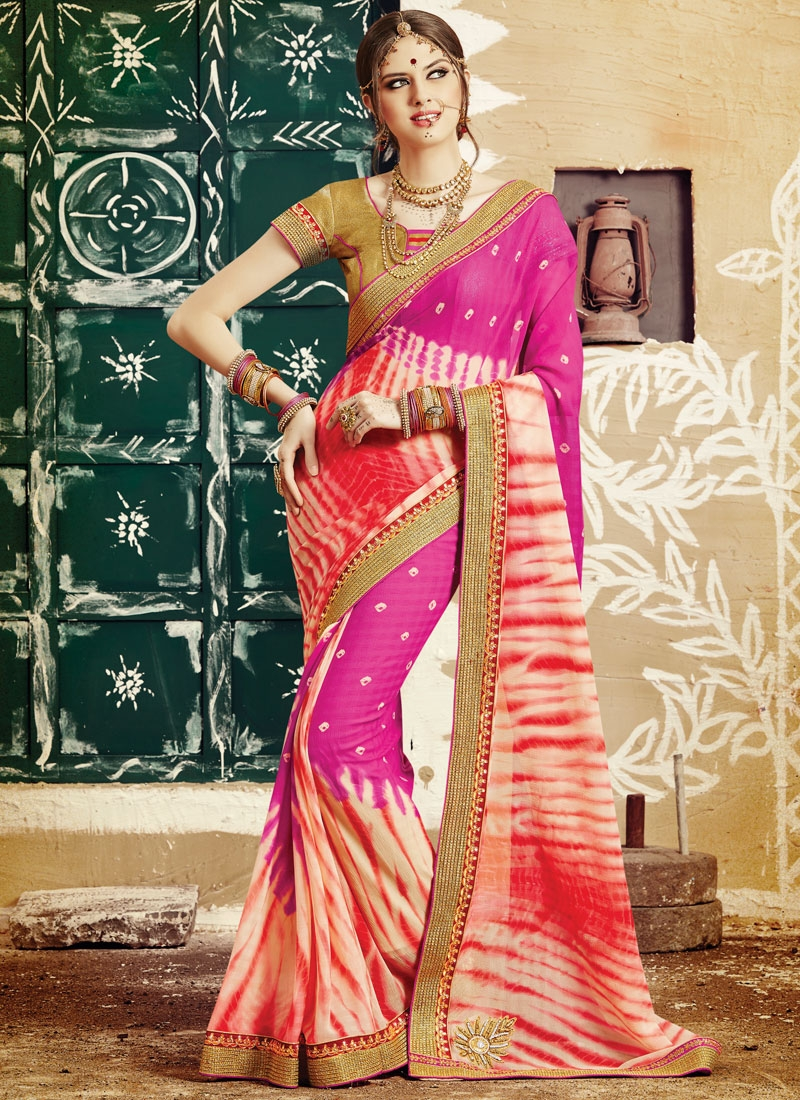 Celestial Stone And Bandhej Print Work Party Wear Saree