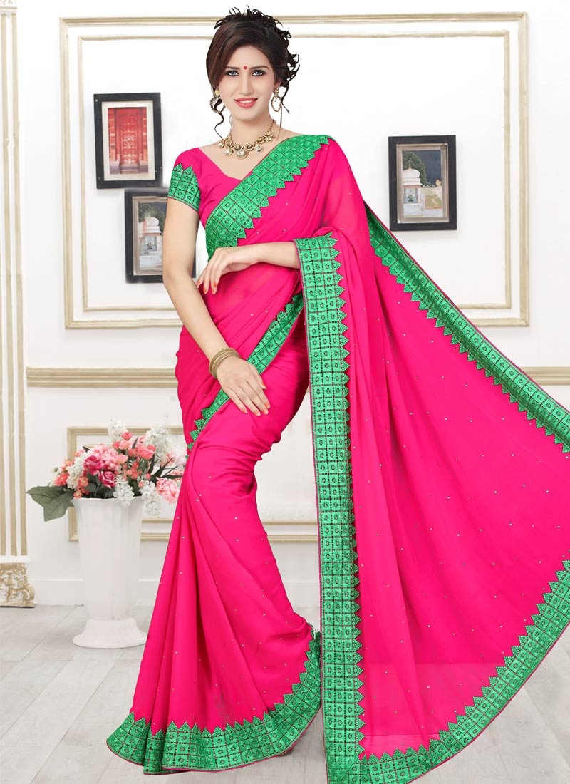 Celestial Stone Work Faux Georgette Casual Saree