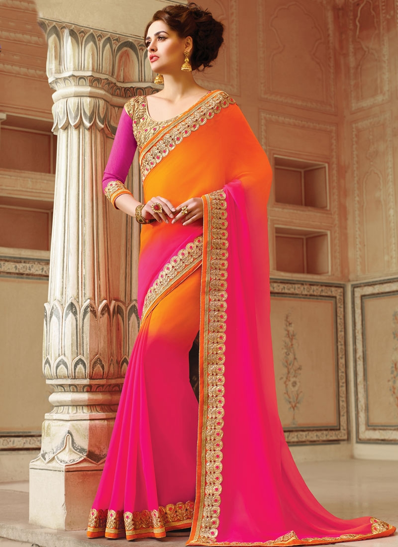 Celestial Stone Work Rose Pink Color Party Wear Saree