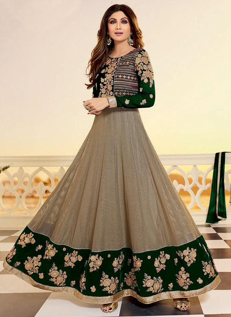 Celestial Stone Work Velvet Shilpa Shetty Ankle Length Designer Suit