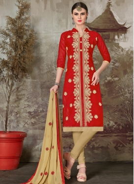 Chanderi Cotton Beige and Red Trendy Salwar Kameez