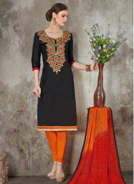 Chanderi Cotton Black and Orange Trendy Churidar Salwar Suit