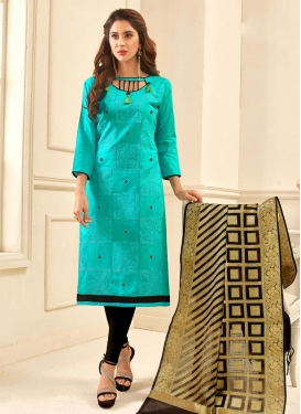 Chanderi Cotton Black and Turquoise Embroidered Work Designer Straight Salwar Suit