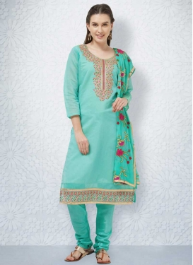Chanderi Cotton Churidar Salwar Kameez