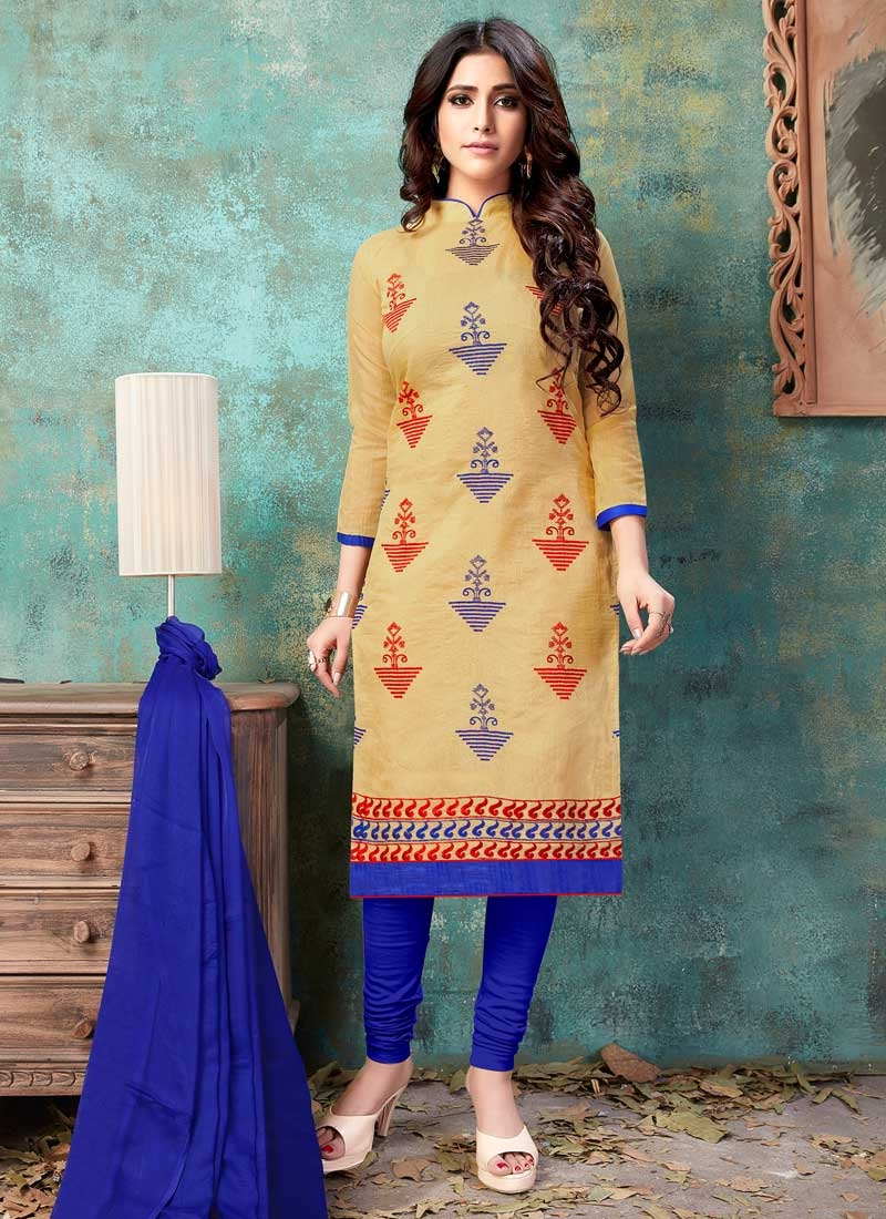 Chanderi Cotton Churidar Suit For Casual